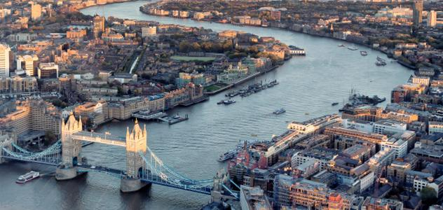 River thames view from the sky