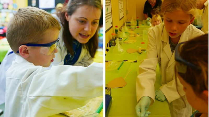 Children doing experiments at Science Fete