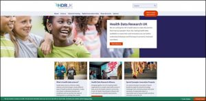 The home page of HDR UK with children smiling and feet jogging