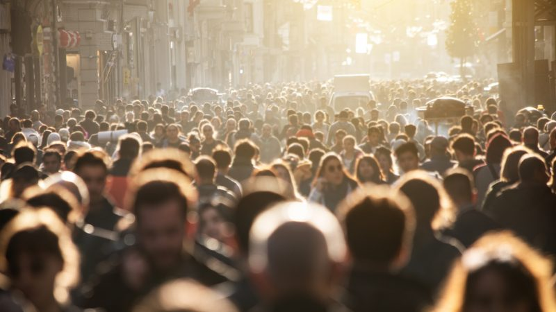 Crowd of people in street