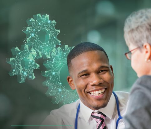 Cover of the Digital Innovation Hub Prospectus showing a smiling doctor talking to a patient