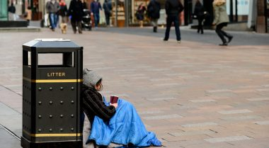 Homeless person on street in Glasgow